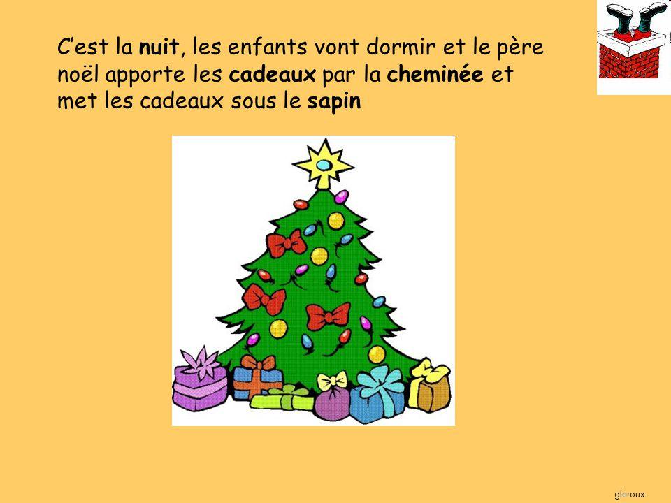 C'est le matin du 25 décembre Les enfants se reveillent et ouvrent les cadeaux.