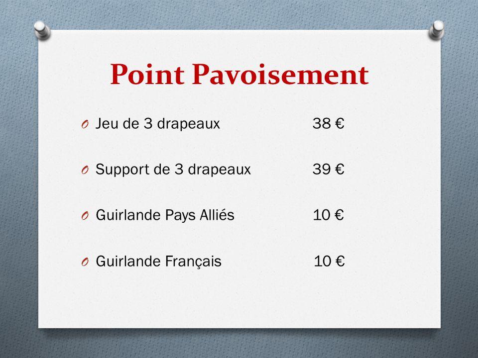 Point Pavoisement O Jeu de 3 drapeaux 38 € O Support de 3 drapeaux 39 € O Guirlande Pays Alliés 10 € O Guirlande Français 10 €
