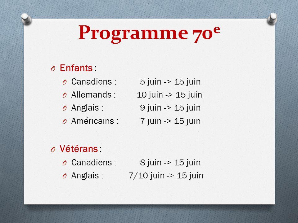 Programme 70 e O Enfants : O Canadiens : 5 juin -> 15 juin O Allemands : 10 juin -> 15 juin O Anglais : 9 juin -> 15 juin O Américains : 7 juin -> 15