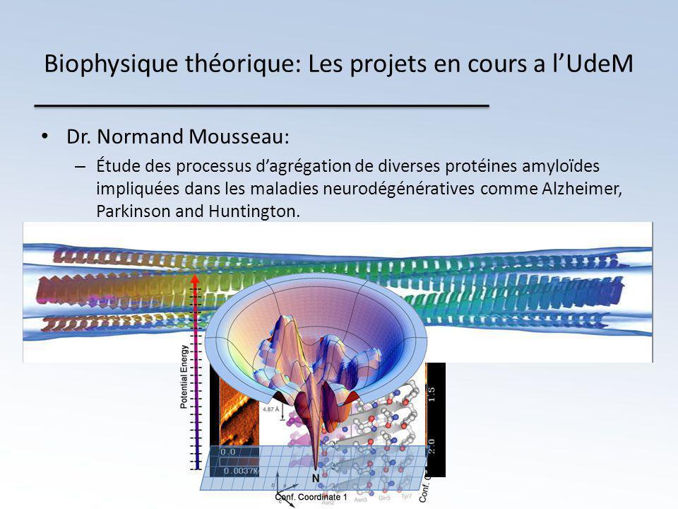 Biophysique théorique: Les projets en cours a l'UdeM • Dr.