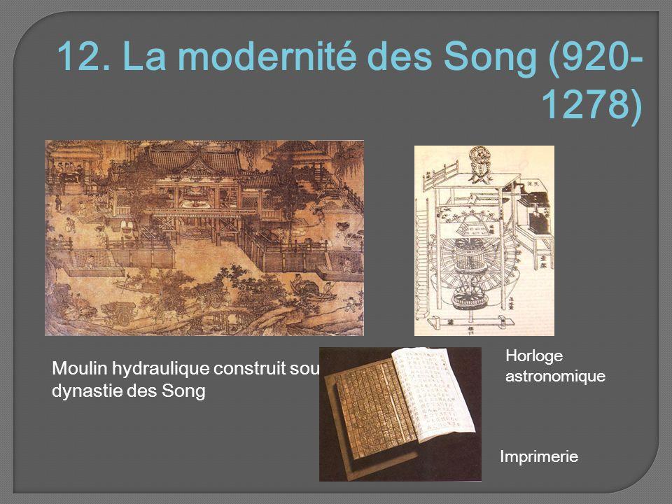 12. La modernité des Song (920- 1278) Moulin hydraulique construit sous la dynastie des Song Imprimerie Horloge astronomique