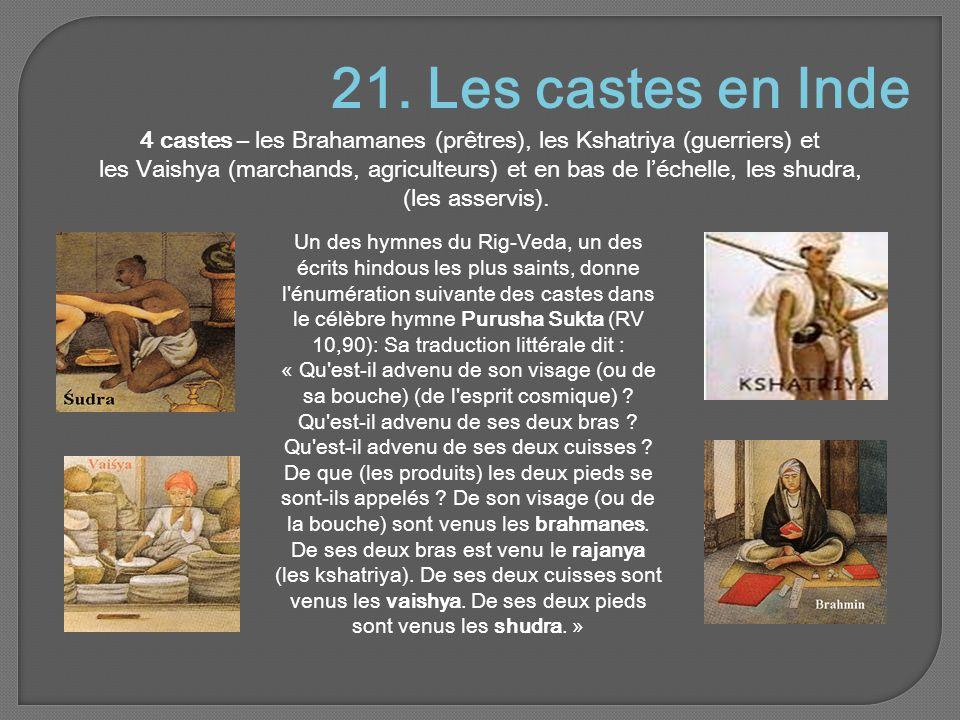 21. Les castes en Inde 4 castes – les Brahamanes (prêtres), les Kshatriya (guerriers) et les Vaishya (marchands, agriculteurs) et en bas de l'échelle,