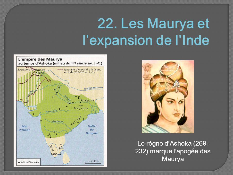 22. Les Maurya et l'expansion de l'Inde Le règne d'Ashoka (269- 232) marque l'apogée des Maurya