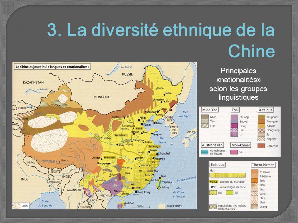3. La diversité ethnique de la Chine Principales «nationalités» selon les groupes linguistiques