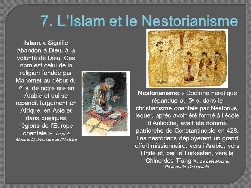 7.L'Islam et le Nestorianisme Islam: « Signifie abandon à Dieu, à la volonté de Dieu.