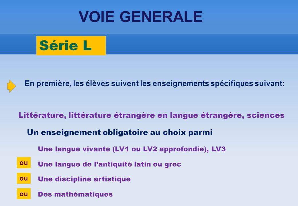 ou Série L VOIE GENERALE Une langue vivante (LV1 ou LV2 approfondie), LV3 Une langue de l'antiquité latin ou grec Une discipline artistique Des mathém