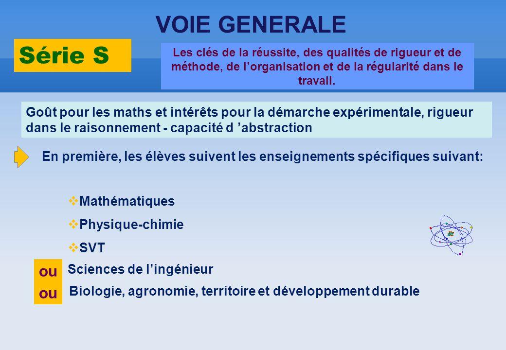 VOIE GENERALE Série S Sciences de l'ingénieur Biologie, agronomie, territoire et développement durable ou Les clés de la réussite, des qualités de rig