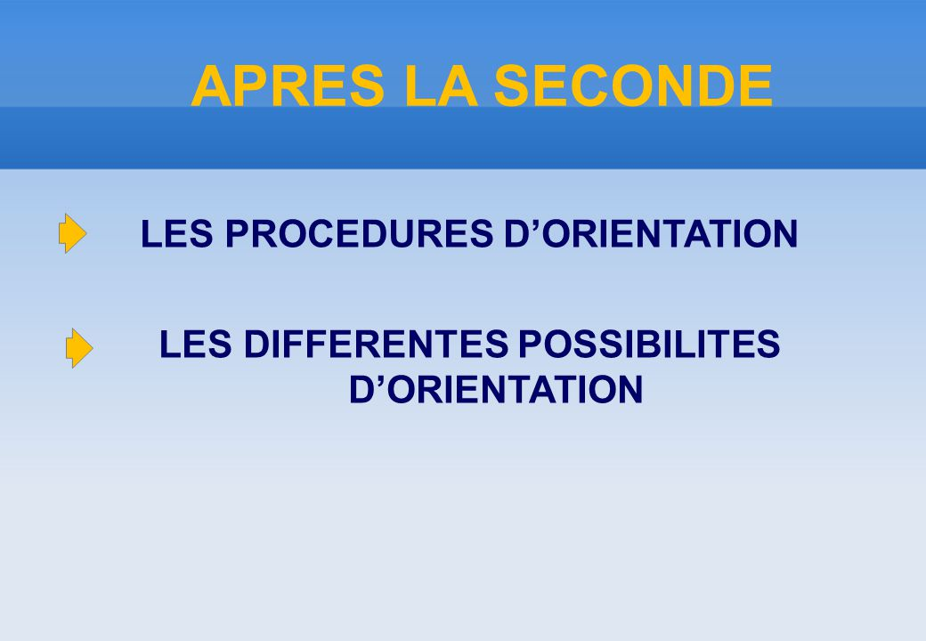 APRES LA SECONDE LES PROCEDURES D'ORIENTATION LES DIFFERENTES POSSIBILITES D'ORIENTATION