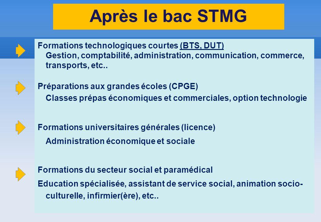 Après le bac STMG Formations technologiques courtes (BTS, DUT) Gestion, comptabilité, administration, communication, commerce, transports, etc.. Prépa