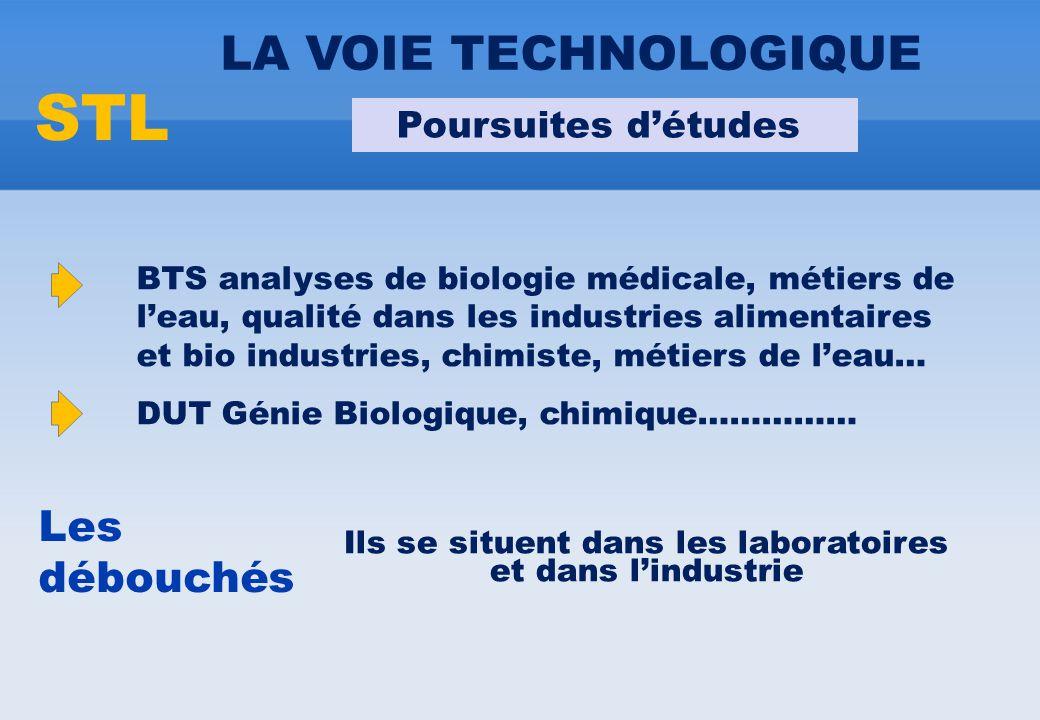 BTS analyses de biologie médicale, métiers de l'eau, qualité dans les industries alimentaires et bio industries, chimiste, métiers de l'eau… DUT Génie