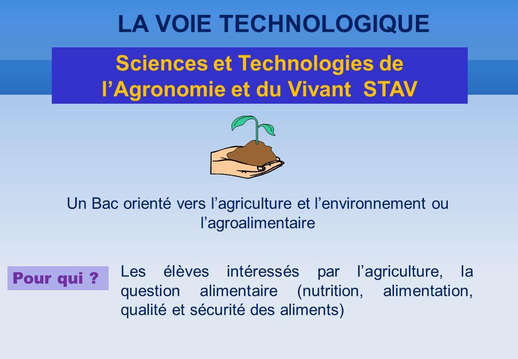 Un Bac orienté vers l'agriculture et l'environnement ou l'agroalimentaire Pour qui ? Les élèves intéressés par l'agriculture, la question alimentaire