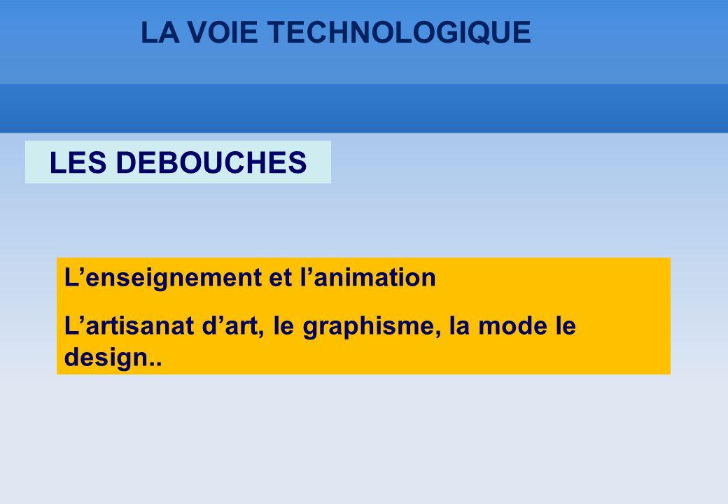 LA VOIE TECHNOLOGIQUE L'enseignement et l'animation L'artisanat d'art, le graphisme, la mode le design.. LES DEBOUCHES