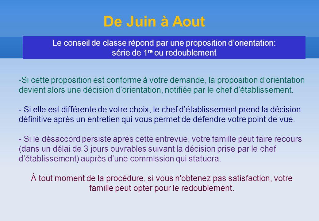 De Juin à Aout -Si cette proposition est conforme à votre demande, la proposition d'orientation devient alors une décision d'orientation, notifiée par