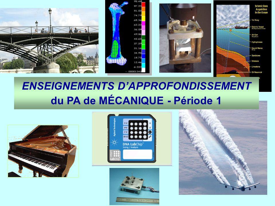 ENSEIGNEMENTS D'APPROFONDISSEMENT du PA de MÉCANIQUE - Période 1