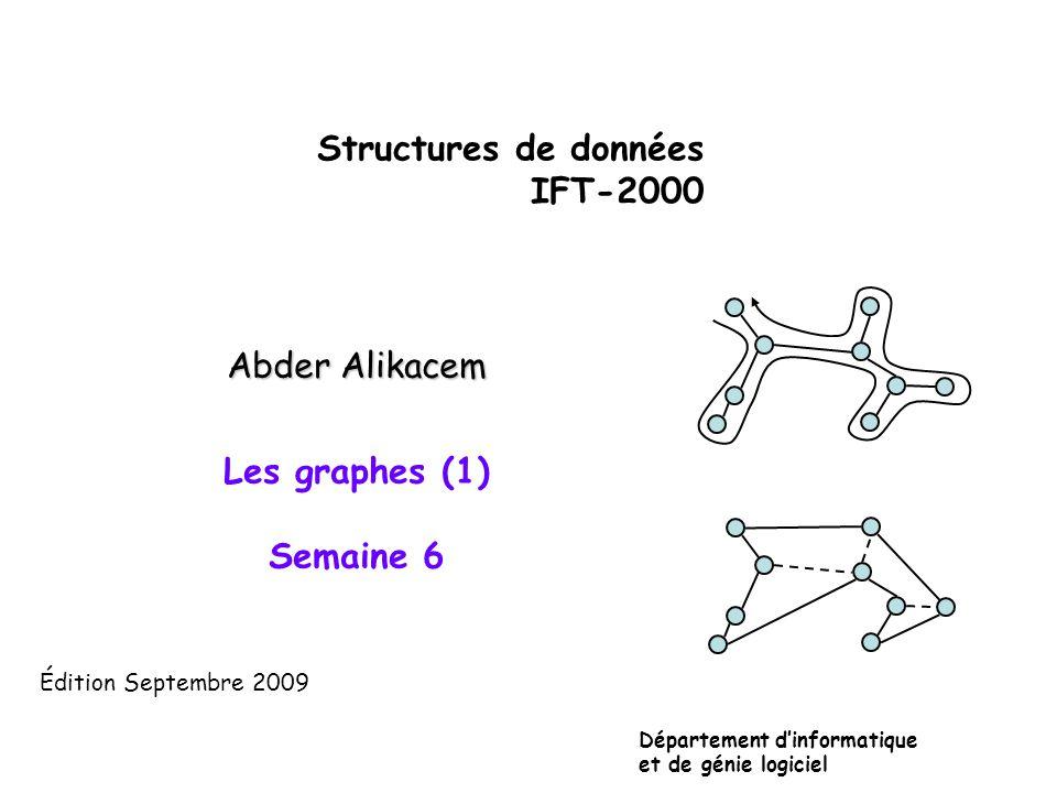 Structures de données IFT-2000 Abder Alikacem Les graphes (1) Semaine 6 Département d'informatique et de génie logiciel Édition Septembre 2009