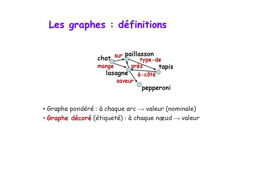 Les graphes : définitions • Graphe pondéré : à chaque arc  valeur (nominale) • Graphe décoré (étiqueté) : à chaque nœud  valeur lasagne chat tapis pepperoni paillasson type-de mange sur saveur à-côté près