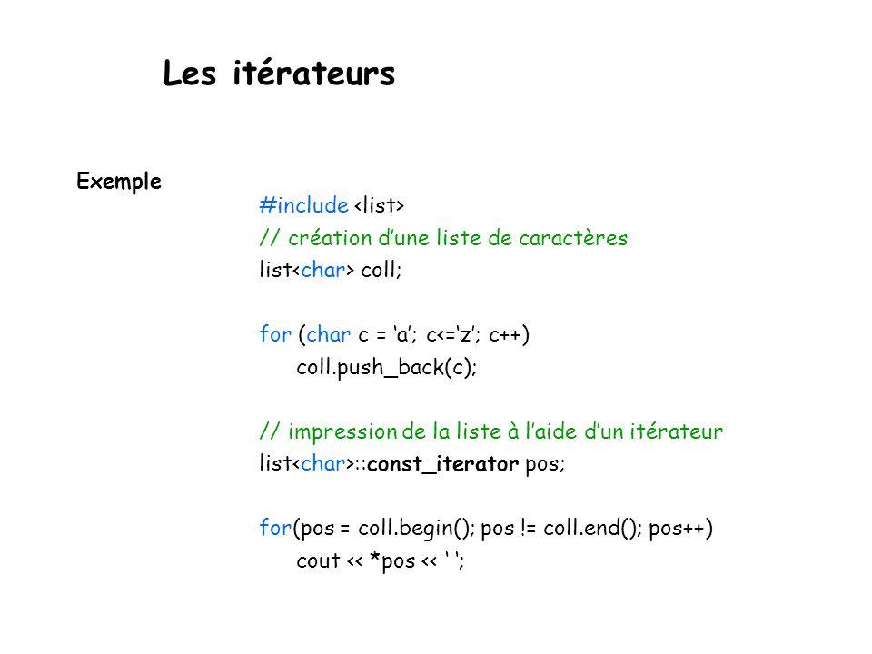 #include // création d'une liste de caractères list coll; for (char c = 'a'; c<='z'; c++) coll.push_back(c); // impression de la liste à l'aide d'un itérateur list ::const_iterator pos; for(pos = coll.begin(); pos != coll.end(); pos++) cout << *pos << ' '; Exemple Les itérateurs