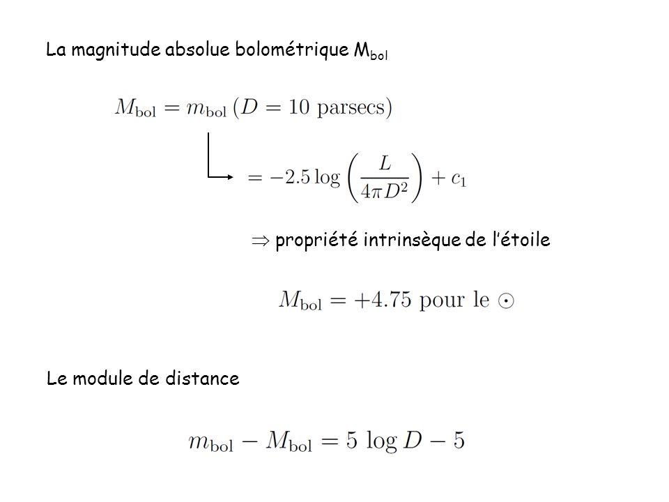 La magnitude absolue bolométrique M bol  propriété intrinsèque de l'étoile Le module de distance