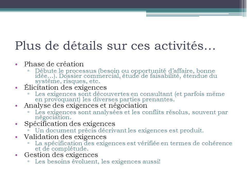 Plus de détails sur ces activités… • Phase de création ▫ Débute le processus (besoin ou opportunité d'affaire, bonne idée…).