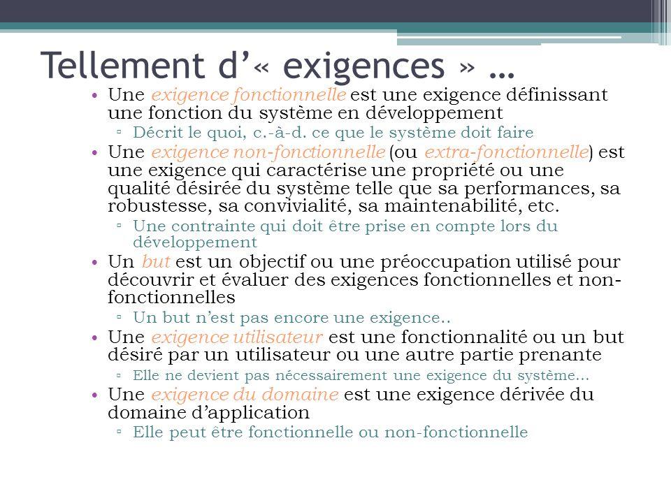 Tellement d'« exigences » … • Une exigence fonctionnelle est une exigence définissant une fonction du système en développement ▫ Décrit le quoi, c.-à-d.