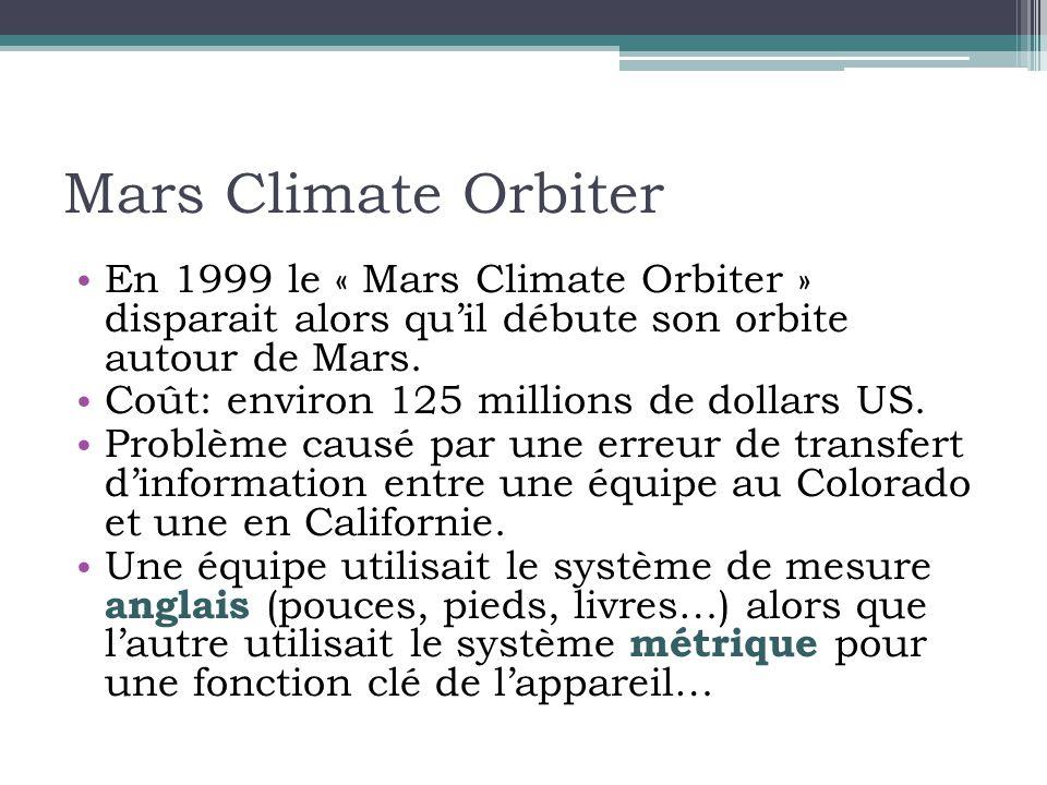Mars Climate Orbiter • En 1999 le « Mars Climate Orbiter » disparait alors qu'il débute son orbite autour de Mars.