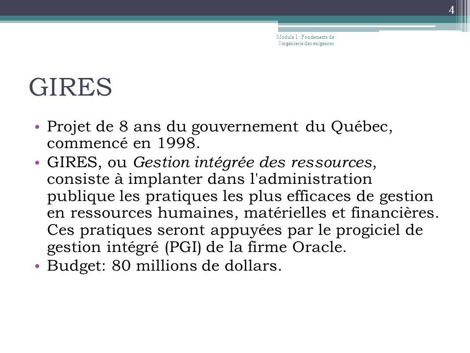 GIRES • Projet de 8 ans du gouvernement du Québec, commencé en 1998.