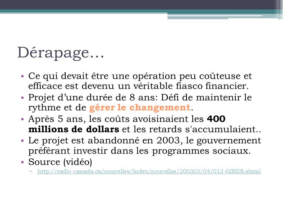 Dérapage… • Ce qui devait être une opération peu coûteuse et efficace est devenu un véritable fiasco financier.