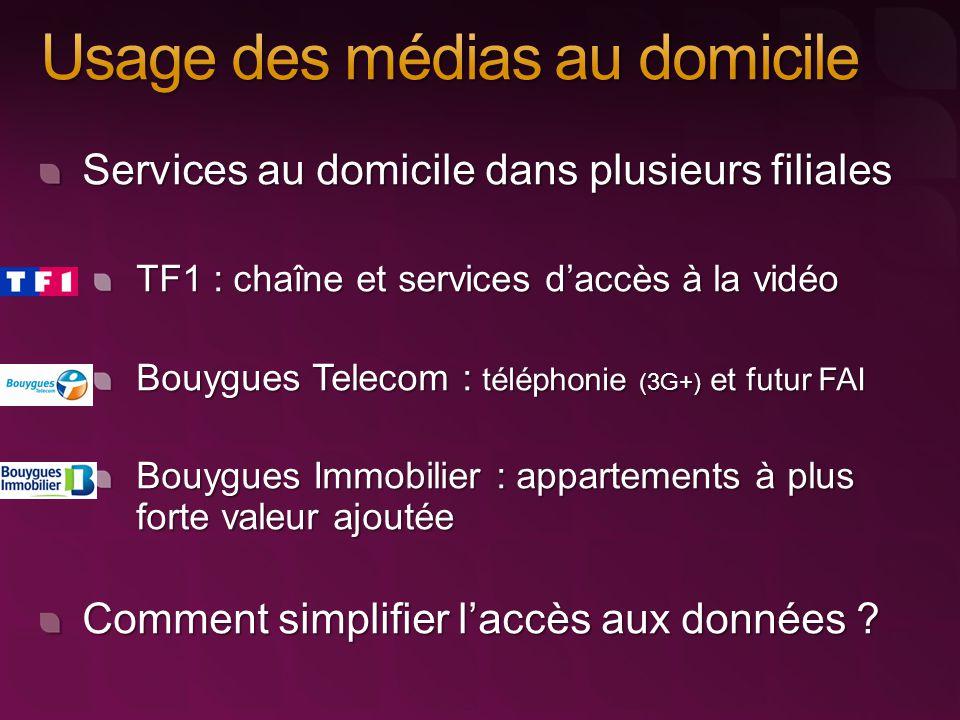 Services au domicile dans plusieurs filiales TF1 : chaîne et services d'accès à la vidéo Bouygues Telecom : téléphonie (3G+) et futur FAI Bouygues Immobilier : appartements à plus forte valeur ajoutée Comment simplifier l'accès aux données