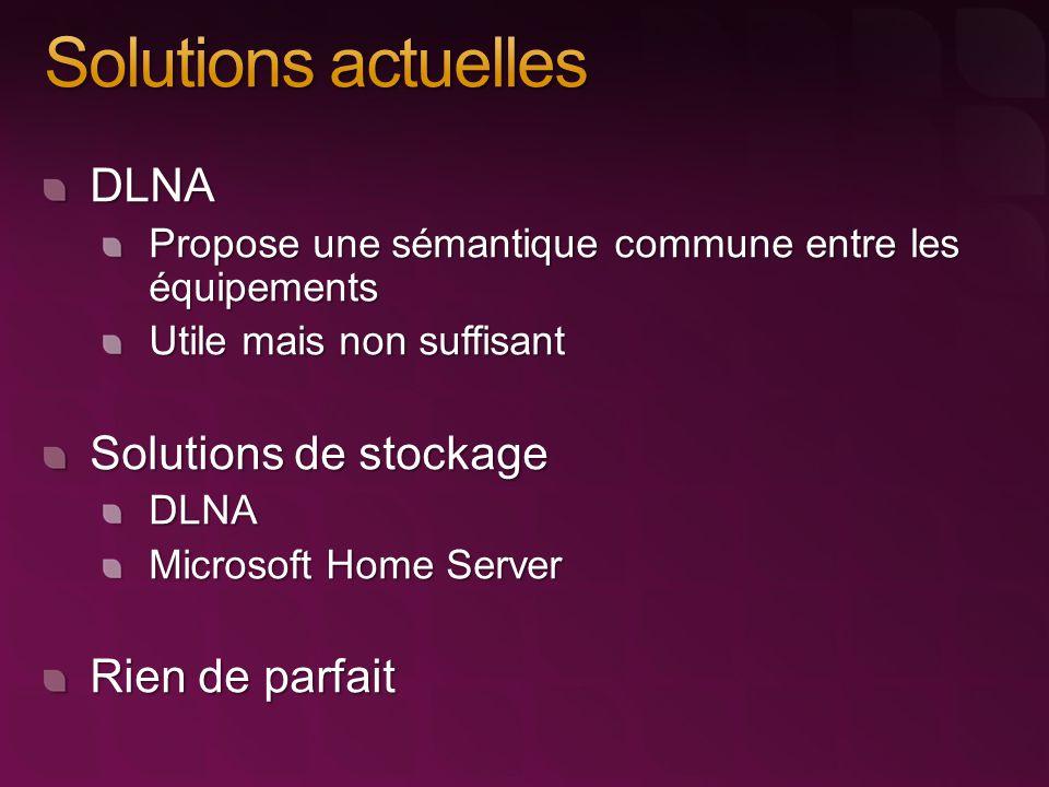 DLNA Propose une sémantique commune entre les équipements Utile mais non suffisant Solutions de stockage DLNA Microsoft Home Server Rien de parfait