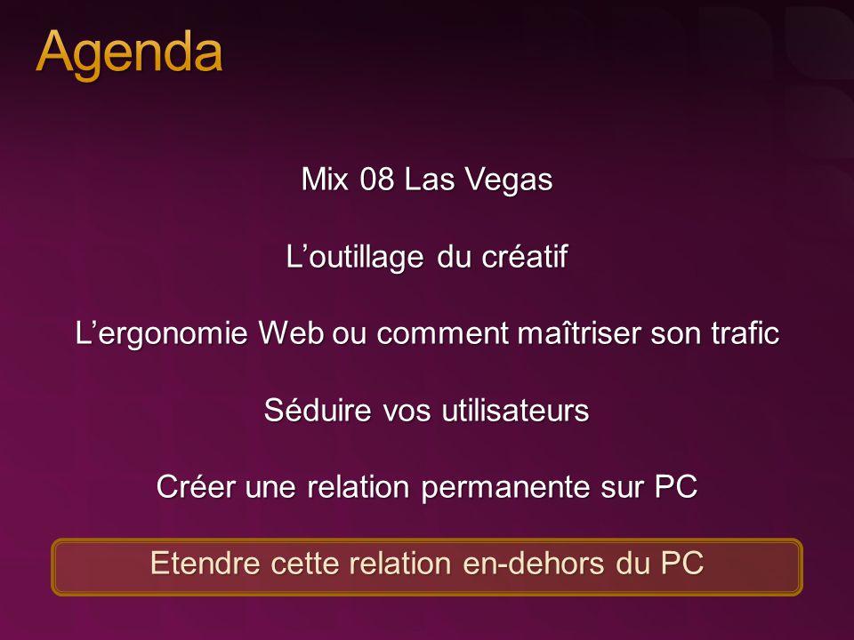 Mix 08 Las Vegas L'outillage du créatif L'ergonomie Web ou comment maîtriser son trafic Séduire vos utilisateurs Créer une relation permanente sur PC Etendre cette relation en-dehors du PC