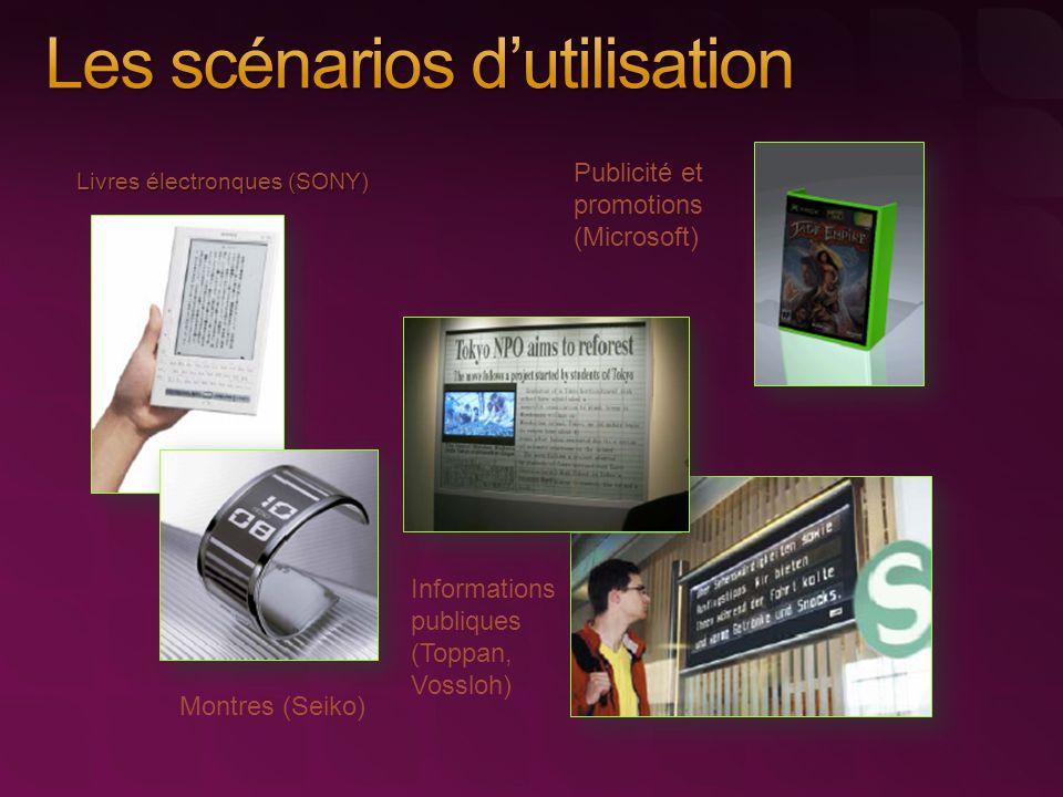 Livres électronques (SONY) Montres (Seiko) Publicité et promotions (Microsoft) Informations publiques (Toppan, Vossloh)