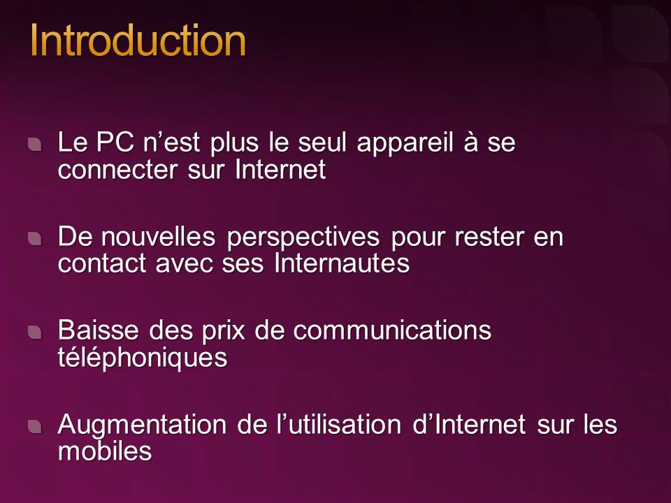 Le PC n'est plus le seul appareil à se connecter sur Internet De nouvelles perspectives pour rester en contact avec ses Internautes Baisse des prix de communications téléphoniques Augmentation de l'utilisation d'Internet sur les mobiles