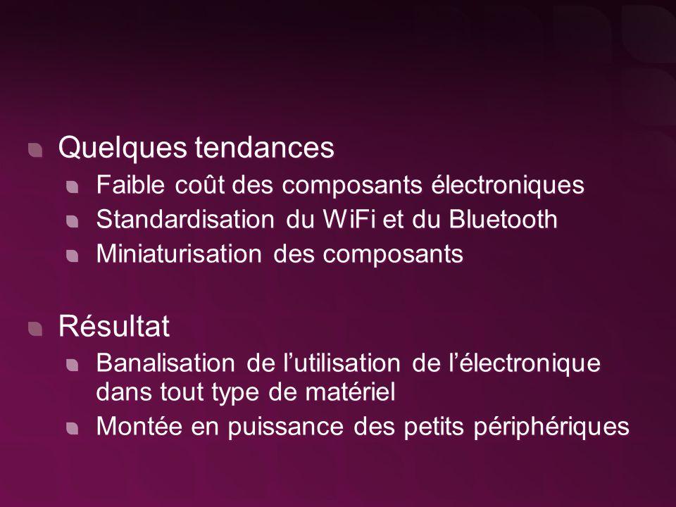 Quelques tendances Faible coût des composants électroniques Standardisation du WiFi et du Bluetooth Miniaturisation des composants Résultat Banalisation de l'utilisation de l'électronique dans tout type de matériel Montée en puissance des petits périphériques