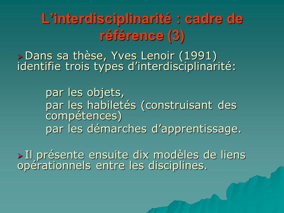 L'interdisciplinarité : cadre de référence (3)  Dans sa thèse, Yves Lenoir (1991) identifie trois types d'interdisciplinarité: par les objets, par le