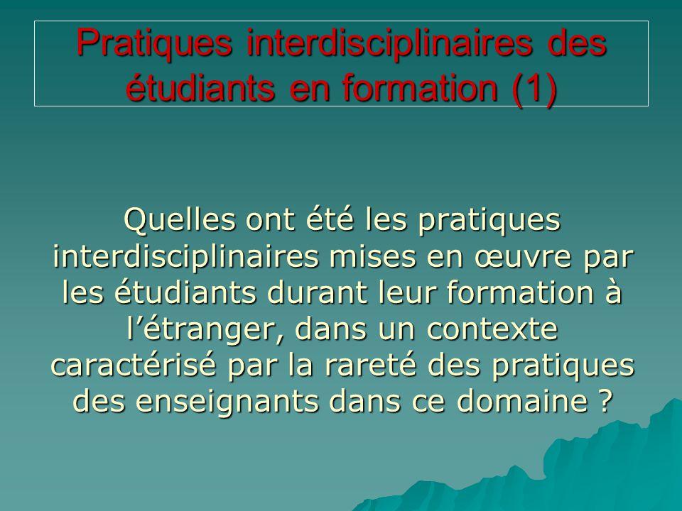 Pratiques interdisciplinaires des étudiants en formation (1) Quelles ont été les pratiques interdisciplinaires mises en œuvre par les étudiants durant