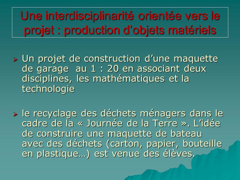 Une interdisciplinarité orientée vers le projet : production d'objets matériels  Un projet de construction d'une maquette de garage au 1 : 20 en asso