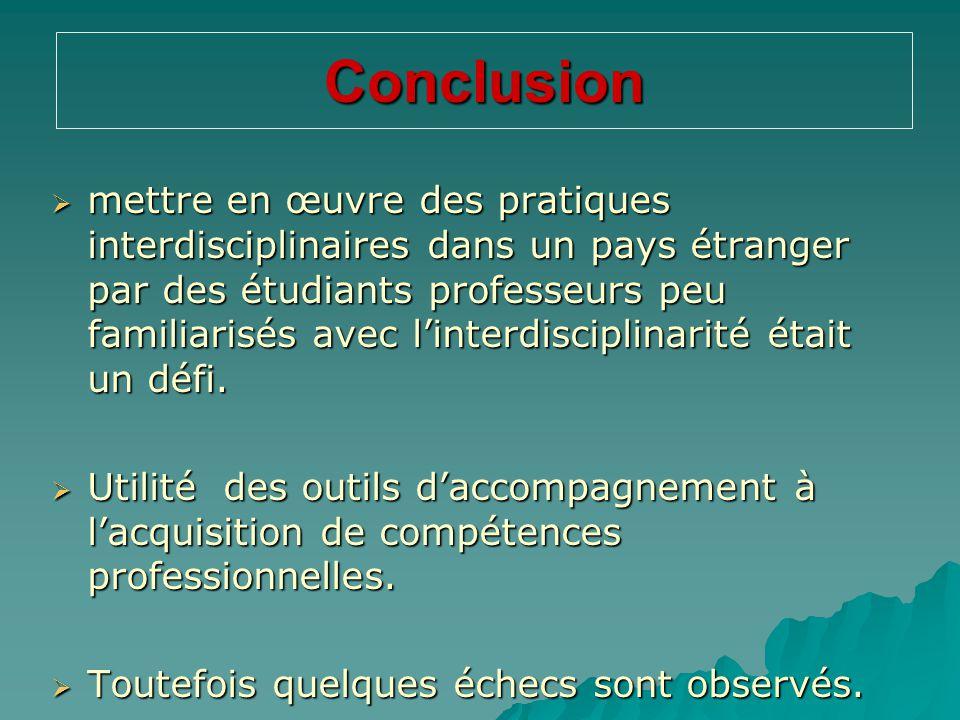 Conclusion  mettre en œuvre des pratiques interdisciplinaires dans un pays étranger par des étudiants professeurs peu familiarisés avec l'interdiscip