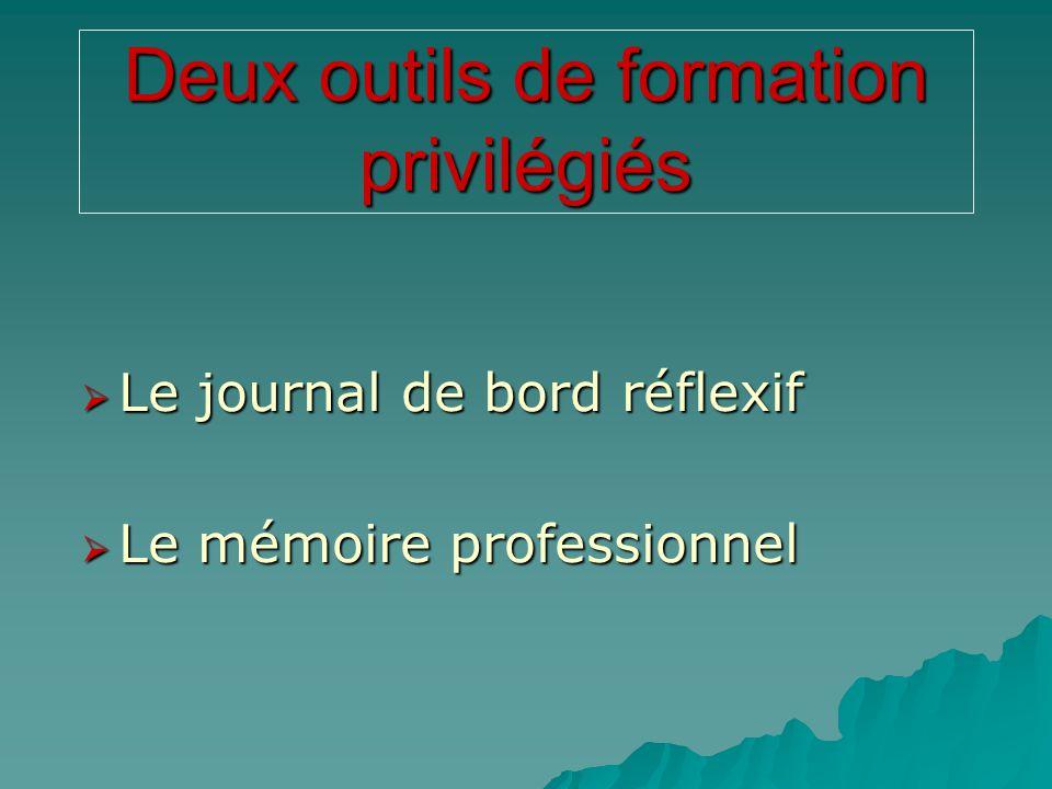 Deux outils de formation privilégiés  Le journal de bord réflexif  Le mémoire professionnel