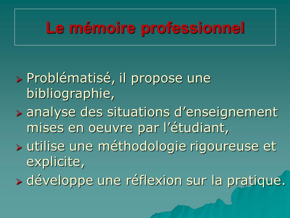 Le mémoire professionnel  Problématisé, il propose une bibliographie,  analyse des situations d'enseignement mises en oeuvre par l'étudiant,  utili