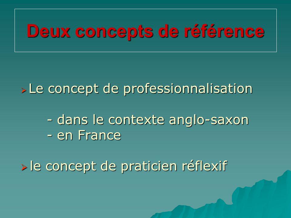 Deux concepts de référence  Le concept de professionnalisation  Le concept de professionnalisation - dans le contexte anglo-saxon - en France  le c
