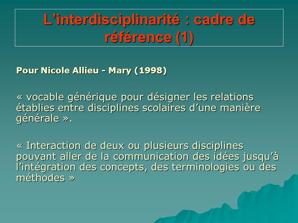 L'interdisciplinarité : cadre de référence (1) Pour Nicole Allieu - Mary (1998) « vocable générique pour désigner les relations établies entre discipl