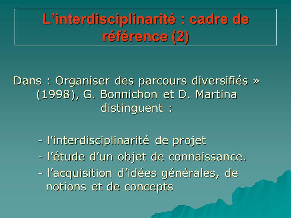 L'interdisciplinarité : cadre de référence (2) Dans : Organiser des parcours diversifiés » (1998), G. Bonnichon et D. Martina distinguent : - l'interd