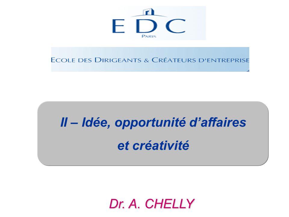 Dr. A. CHELLY II – Idée, opportunité d'affaires et créativité