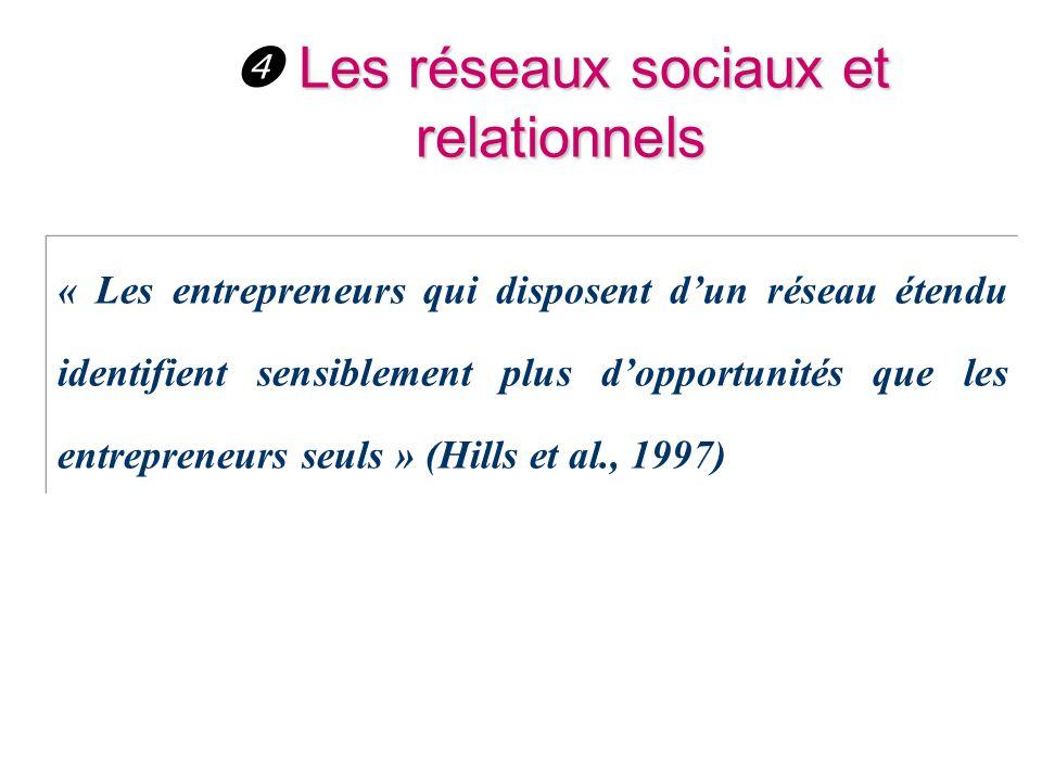 Les réseaux sociaux et relationnels  Les réseaux sociaux et relationnels « Les entrepreneurs qui disposent d'un réseau étendu identifient sensiblemen