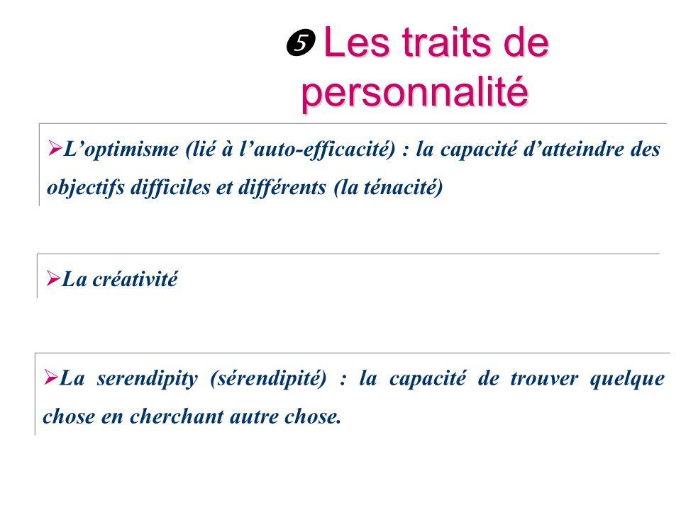 Les traits de personnalité  Les traits de personnalité  L'optimisme (lié à l'auto-efficacité) : la capacité d'atteindre des objectifs difficiles et