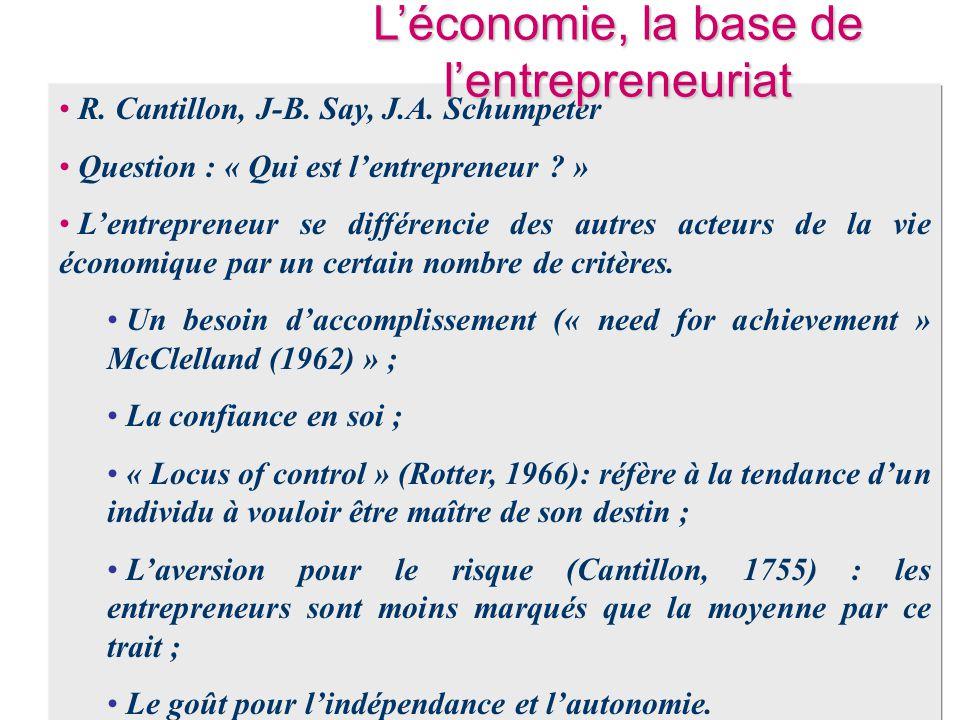 • R. Cantillon, J-B. Say, J.A. Schumpeter • Question : « Qui est l'entrepreneur ? » • L'entrepreneur se différencie des autres acteurs de la vie écono