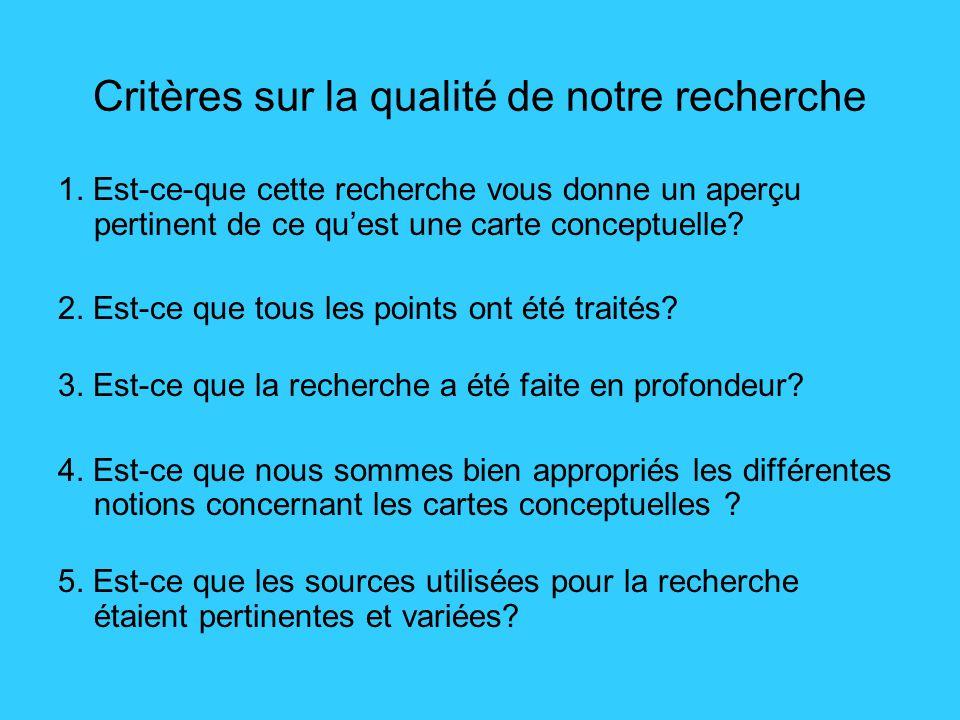 Critères sur la qualité de notre recherche 1.