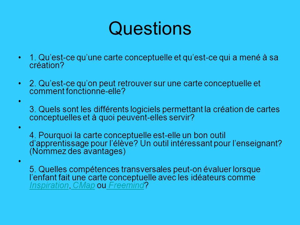 Questions •1. Qu'est-ce qu'une carte conceptuelle et qu'est-ce qui a mené à sa création.