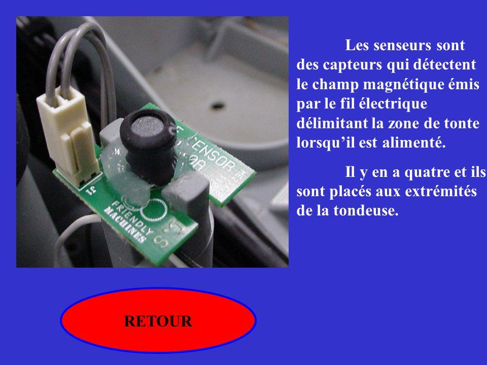 RETOUR Les senseurs sont des capteurs qui détectent le champ magnétique émis par le fil électrique délimitant la zone de tonte lorsqu'il est alimenté.