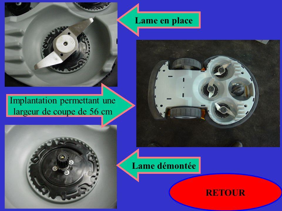 RETOUR Lame démontée Lame en place Implantation permettant une largeur de coupe de 56 cm